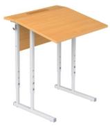 Столы ученические регулируемые одноместные с полкой и крышкой с фиксированным наклоном 10°