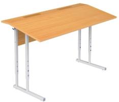 Столы ученические регулируемые двухместные с полкой и крышкой с фиксированным наклоном 10°