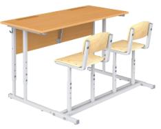 Парта ученическая с наклоном крышки со стульями (двухместная)