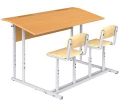 Парта ученическая с полкой со стульями (двухместная)