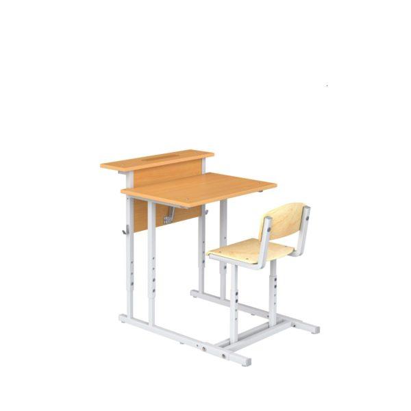 Парта ученическая 1-мест. с наклоном крышки и полкой со стулом