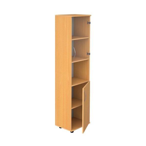 Шкаф для документов узкий со стеклом и нишей