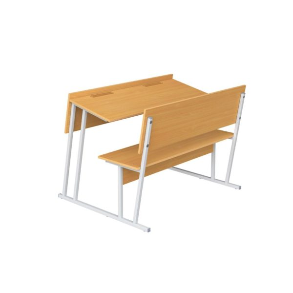Парта-моноблок для аудиторий двухместная со скамьей