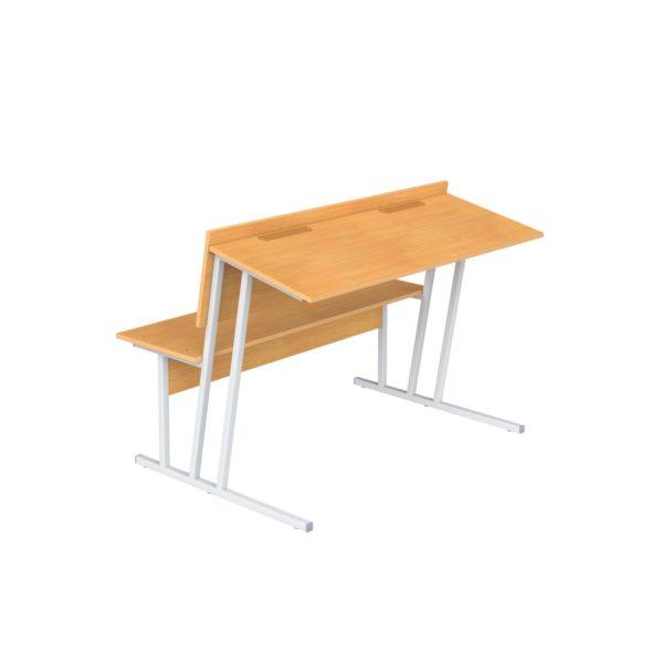 Парта-пюпитр для аудиторий двухместная со скамьей