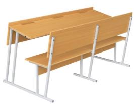 Парта-моноблок для аудиторий трехместная со скамьей